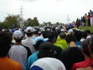 手賀沼ハーフマラソン、スタート前。